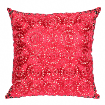 Moroccan Cushion Pillow Silk Square Dark Red Rabat Embroidery 60 x 60 cm 23.6 x 23.6'' CR2